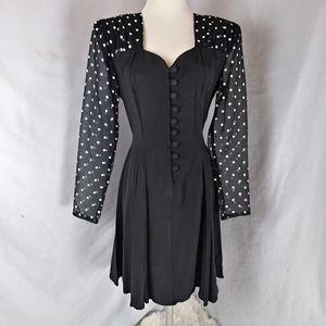 Vintage 80s sheer sleeve polka dot button dress